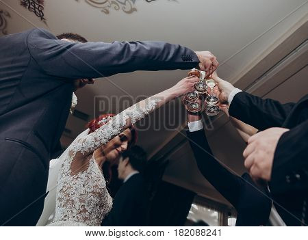 Hands Holding Glasses Of Champagne And Clinking. Stylish Happy Wedding Couple Toasting With Family,