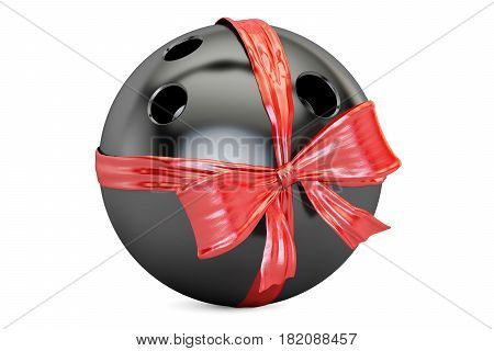 bowling ball with bow and ribbon closeup gift concept. 3D rendering isolated on white background
