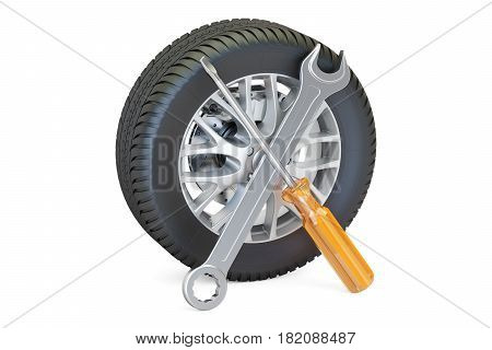car wheel with tools auto service and repair concept. 3D rendering isolated on white background