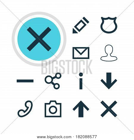 Vector Illustration Of 12 User Icons. Editable Pack Of Wrong, Pen, Downward And Other Elements.