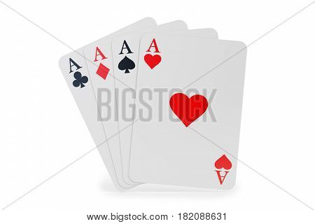 Four aces closeup 3D rendering isolated on white background