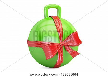 Hopper Ball with bow and ribbon closeup gift concept. 3D rendering