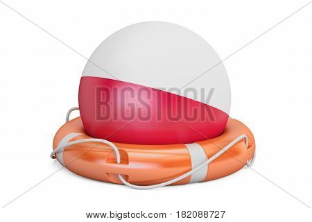 Lifebelt with Poland flag safe help and protect concept. 3D rendering
