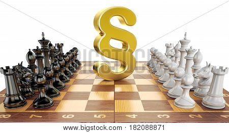 Section symbol on chess board with figures. Law chess concept 3D rendering