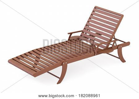Wooden sun lounger closeup 3D rendering isolated on white background
