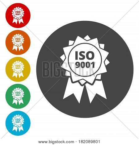 ISO 9001 certified sign icon. Certification stamp
