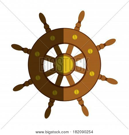 colorful silhouette of boat helm with half shadow vector illustration