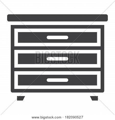 Drawer unit solid icon, Furniture and interior element, vector graphics, a filled pattern on a white background, eps 10.