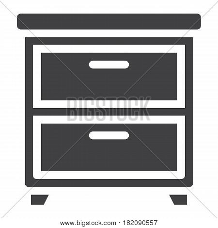 Bedside table solid icon, Furniture and interior element, vector graphics, a filled pattern on a white background, eps 10.
