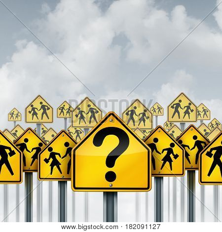 Student questions concept as a group of traffic signs with school crossing icons and a question mark as an education crisis metaphor for learning confusion and counseling with 3D illustration elements.
