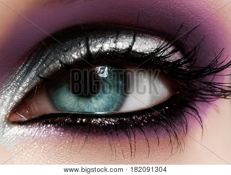 Closeup female eye with beautiful fashion bright make-up. Beautiful shiny silver purple eyeshadow wet glitter black eyeliner
