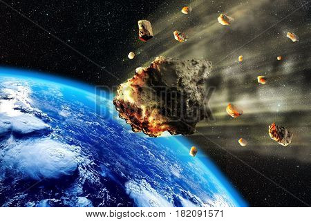 3D rendering of a swarm of Meteorites or asteroides entering the Earth atmosphere.