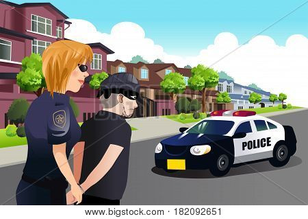 A vector illustration of Policewoman Arresting a Criminal