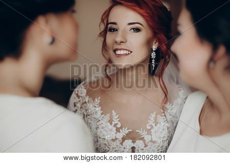 Stylish Happy Bride Dressing In Dress, Smiling To Bridesmaids, At Window, Rustic Wedding Morning Pre