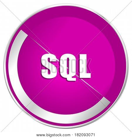 Sql web design violet silver metallic border internet icon.