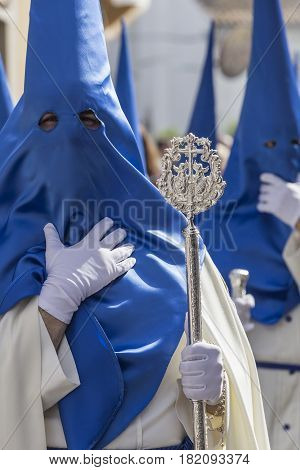 Brotherhood of our father Jesus resurrected during procession of Holy Week on Sunday of resurrection Linares Andalusia Spain