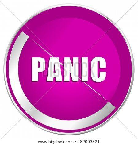 Panic web design violet silver metallic border internet icon.