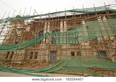 Repair of building after an Earthquake near Durbar Square in Kathmandu Nepal
