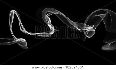 3d illustration of white waves look like smoke on black background