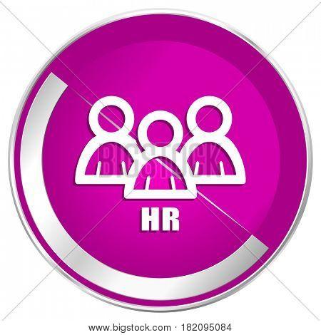 HR web design violet silver metallic border internet icon.