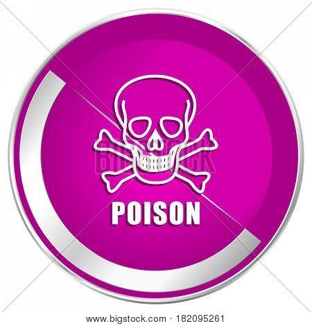Poison skull web design violet silver metallic border internet icon.