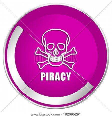 Piracy skull web design violet silver metallic border internet icon.