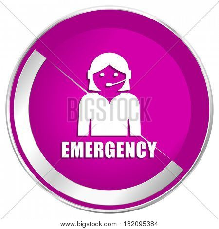 Emergency web design violet silver metallic border internet icon.