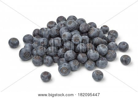 Heap of fresh blue berries on white background