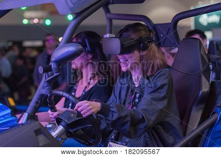 Smile Happy Woman Getting Experience Using Vr Headset Glasses