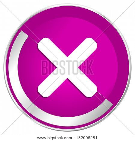 Cancel web design violet silver metallic border internet icon.