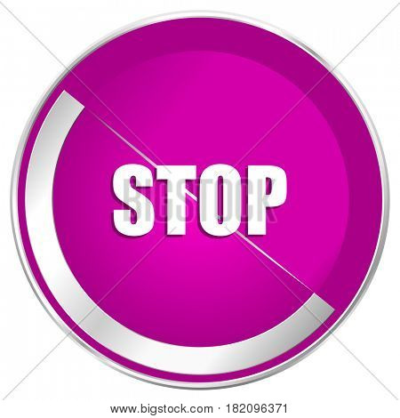 Stop web design violet silver metallic border internet icon.