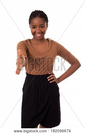 Young african business woman offering handshake, isolated over white
