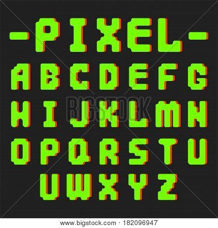 Pixel retro font video computer game design 8 bit letters. Electronic futuristic style and vector abc typeface digital creative alphabet. Website modern vintage creative graphic.