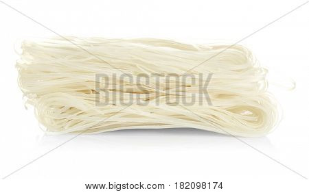 Rice noodles on white background