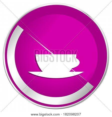 Espresso web design violet silver metallic border internet icon.