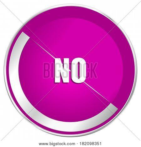 No web design violet silver metallic border internet icon.