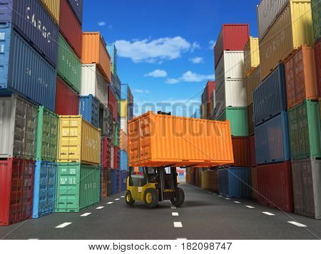 Forklift truck with cargo container in shipping yard with containers. Delivery shipping logistic import export industrial concept. 3d illustration