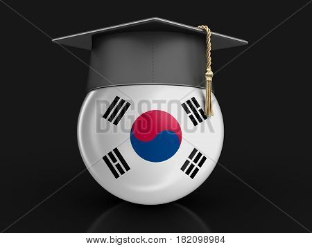 3D Illustration. Graduation cap and South Korean flag. Image with clipping path