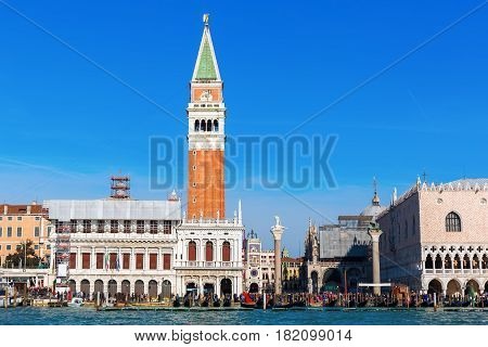 view of the Campanile in Venice Italy from the lagoon