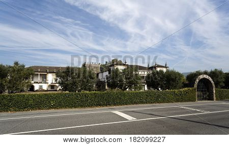 BERTIANDOS, PORTUGAL - OCTOBER 7, 2016: The Solar de Bertiandos a Portuguese baroque manor seen from the road near Ponte de Lima Northern Portugal