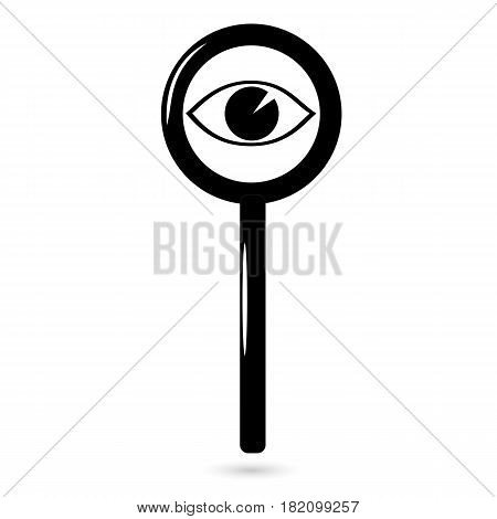 Eye icon looking through a magnifying glass