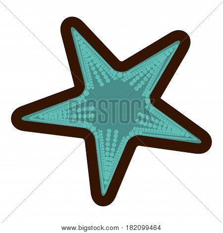 white background and thick contour of aquamarine starfish vector illustration