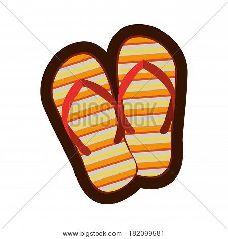 colorful silhouette and thick contour of beach flip-flops vector illustration