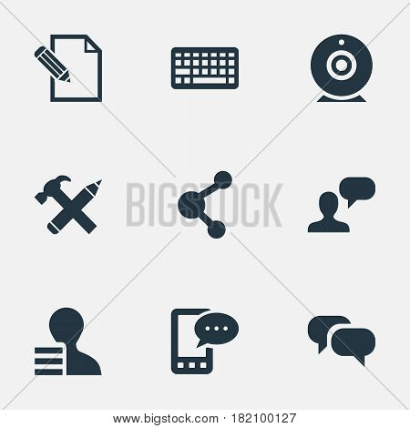 Vector Illustration Set Of Simple Blogging Icons. Elements Man Considering, Document, Gain And Other Synonyms Phone, Repair And Laptop.