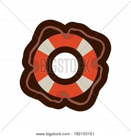 colorful flotation hoop with cord and thick contour vector illustration