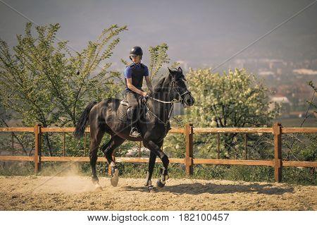 Jockey riding a thoroughbred horse on racecourse