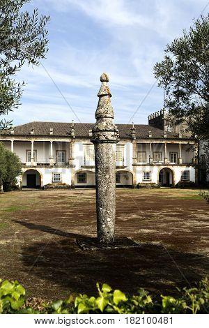 BERTIANDOS, PORTUGAL - OCTOBER 7, 2016: Detail of the granite pillory at Solar de Bertiandos a Portuguese baroque manor near Ponte de Lima Northern Portugal