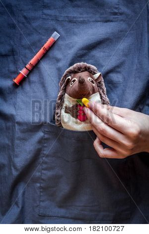 Child health care with hedgehog toy in doctors pocket blue background top view mock up