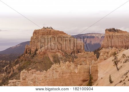 Bryce Canyon National Park in Utah where red rock formations and spires are a tourist attraction.