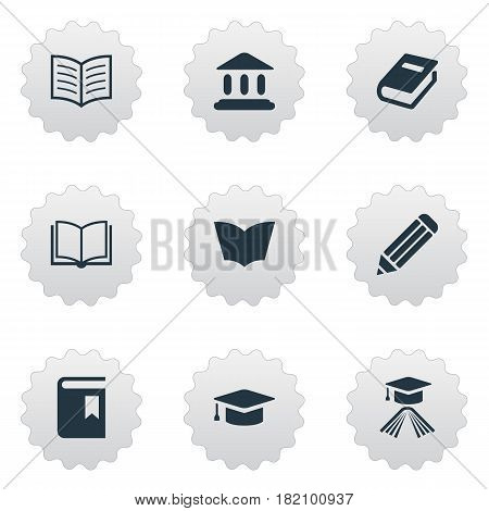 Vector Illustration Set Of Simple Knowledge Icons. Elements Graduation Hat, Book Cover, Notebook And Other Synonyms Hat, Textbook And Bookmark.